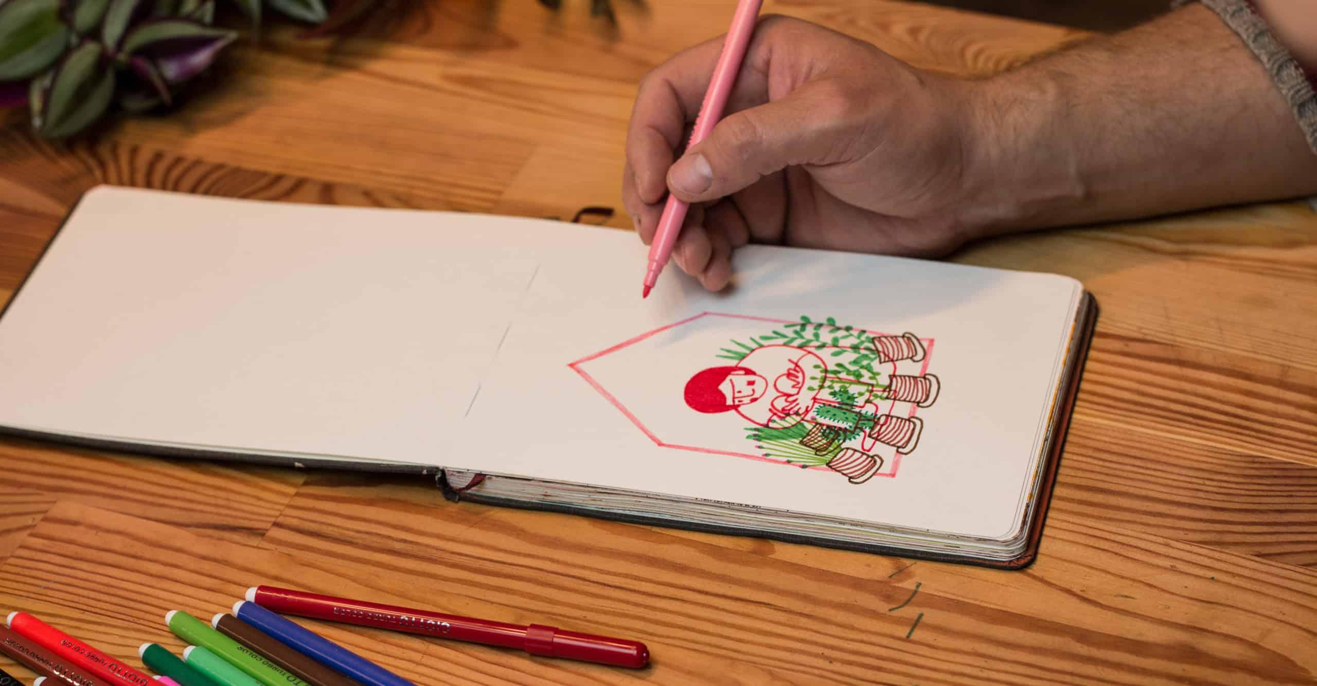 Começar o desenho à distância