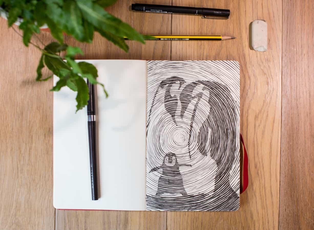 O resultado final da nossa aula de desenho à distância